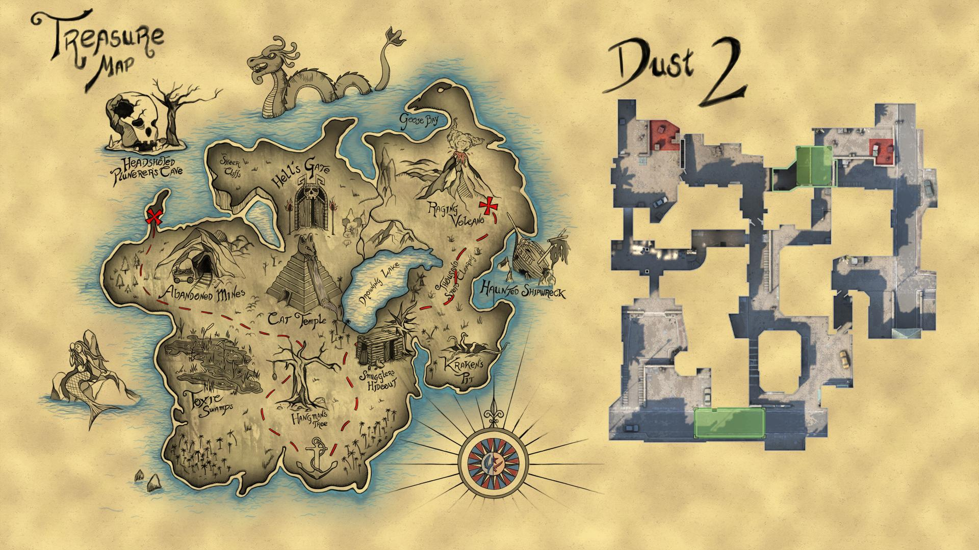 I painted this pirate themed map that is based on Dust 2 layout and      i redd it
