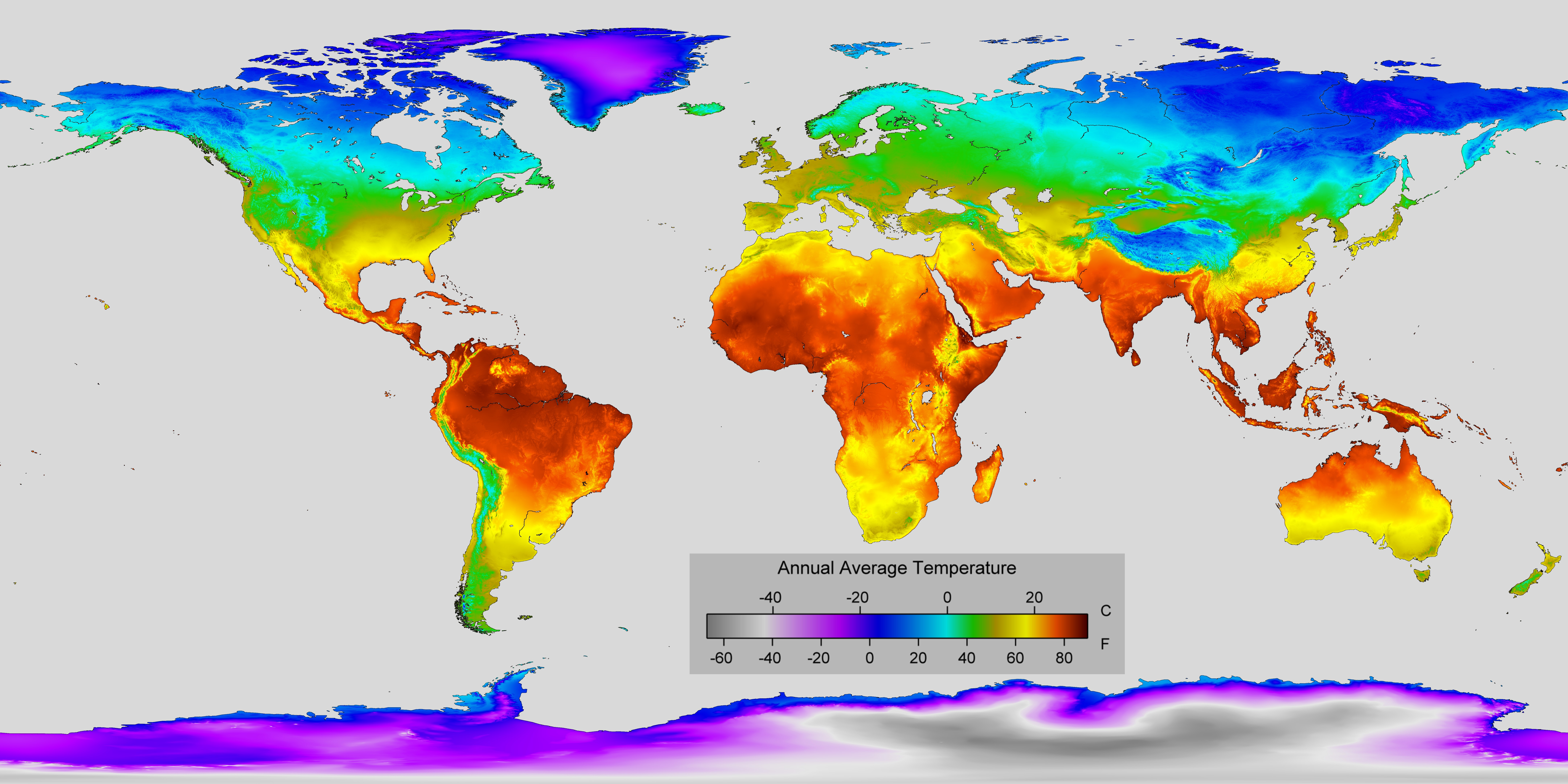 Detailed Map Of Annual Average Temperature Around The