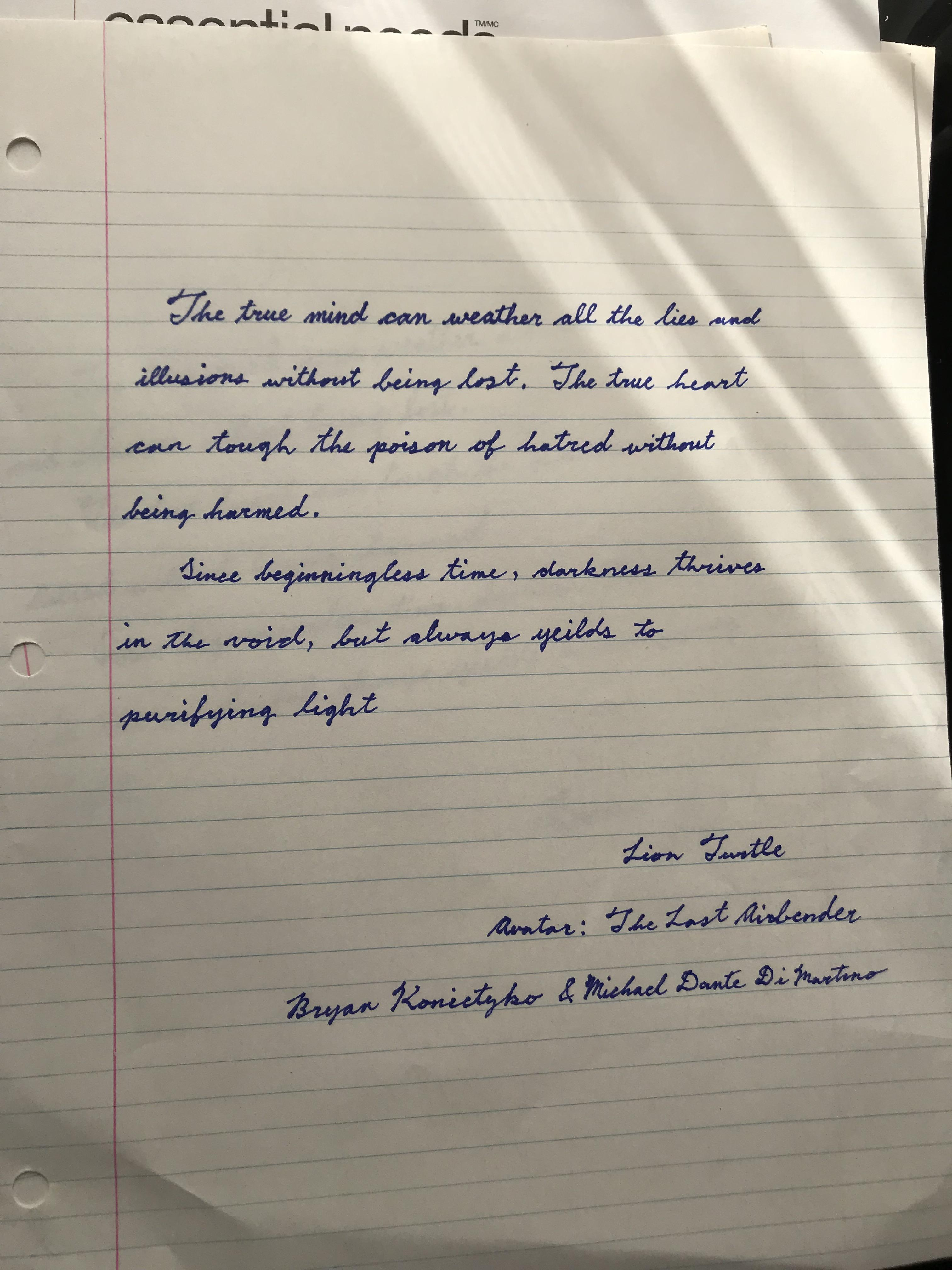 Hi R Handwriting I Wanted To Practice My Handwriting So I Wrote This Quote Help Me Improve