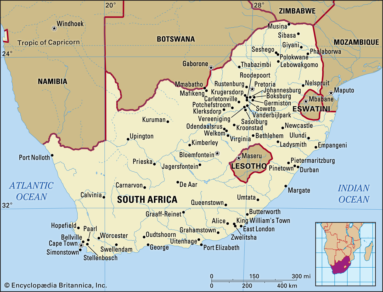 South Africa With Its Major Towns Cities And Rivers Maps