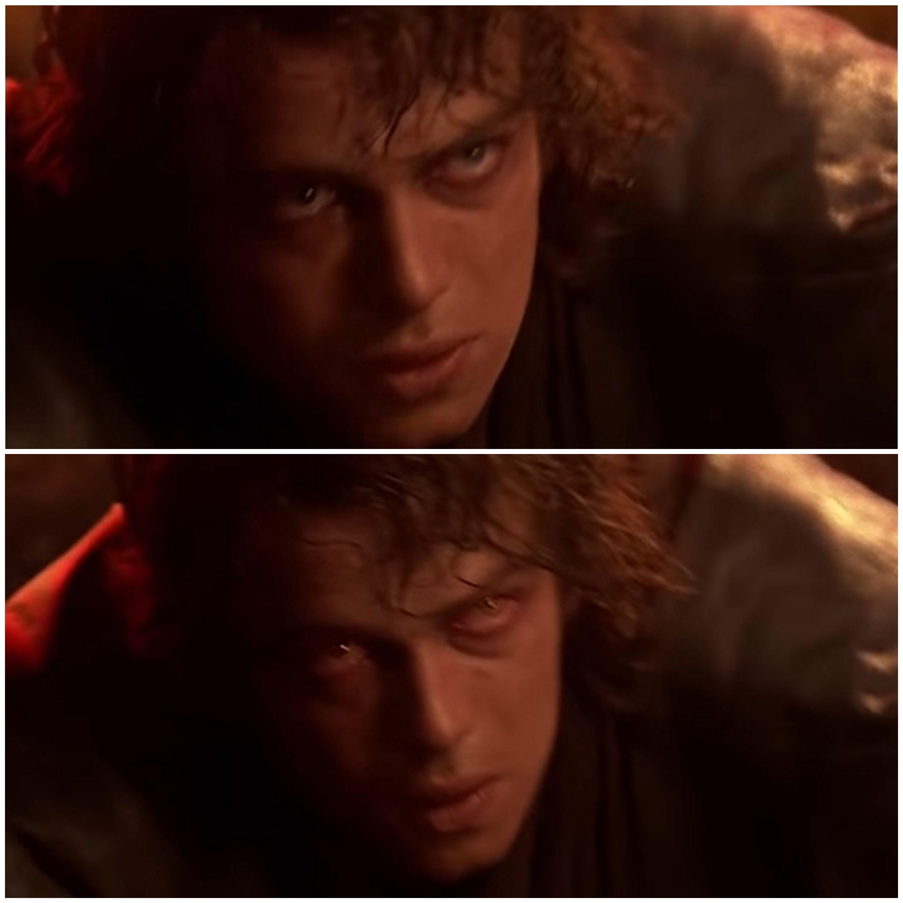 In Star Wars Episode 3 you can see Anakins eyes turning ...