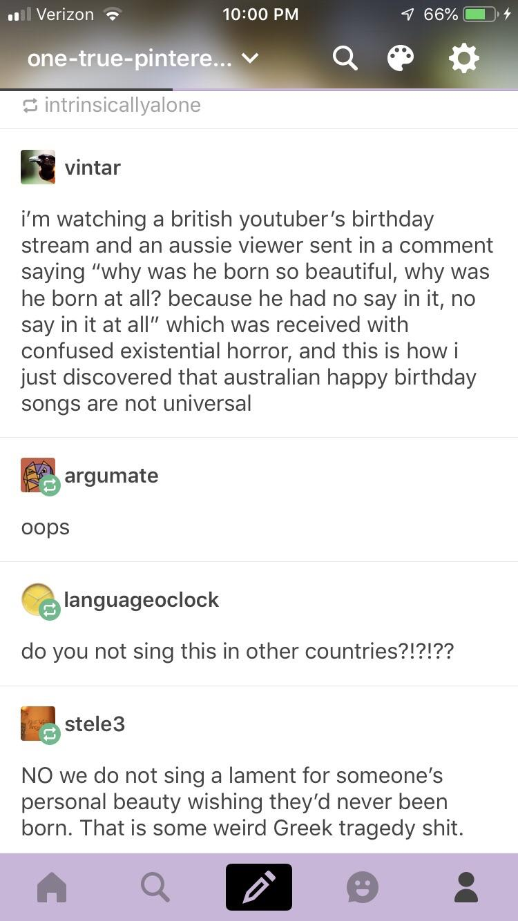 I Ve Never Heard An Australian Birthday Song Before But It Sounds Scary Tumblr