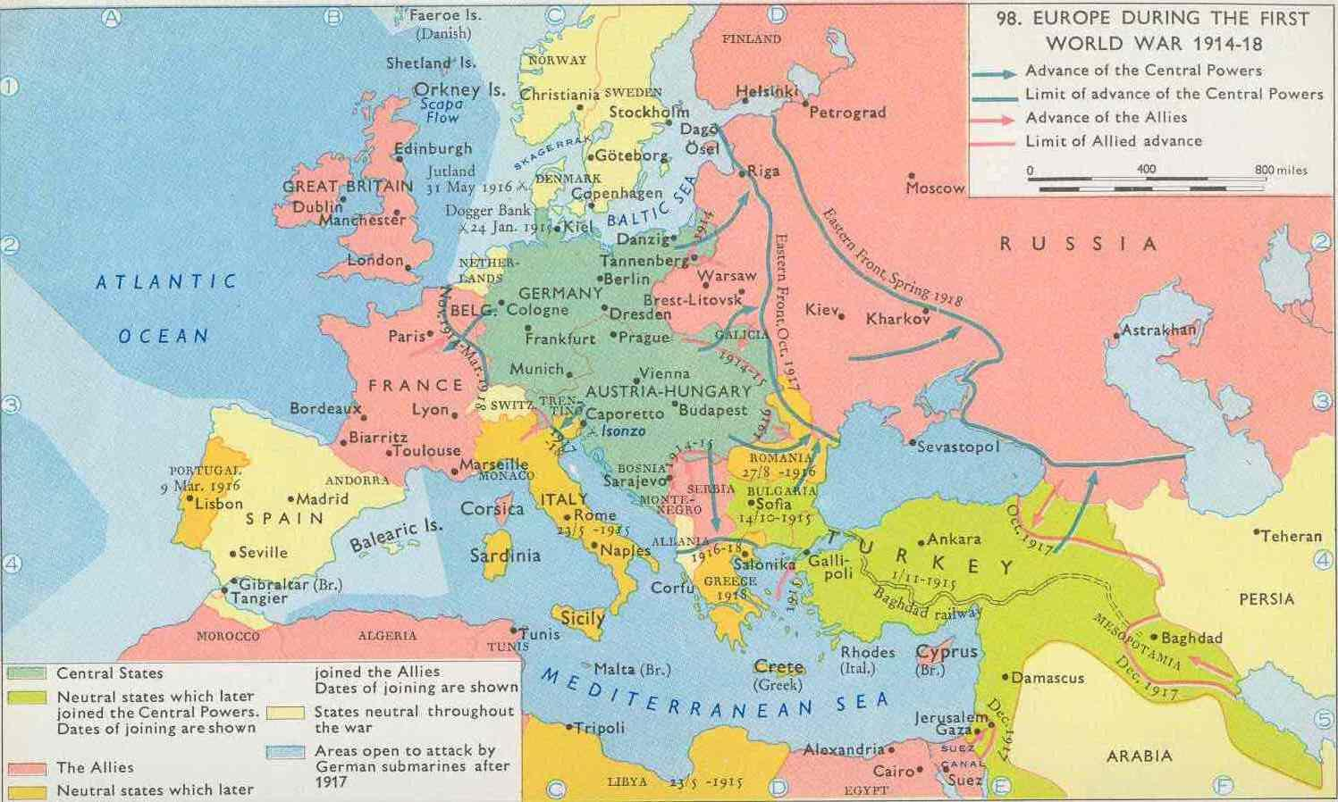 Europe During First World War Map