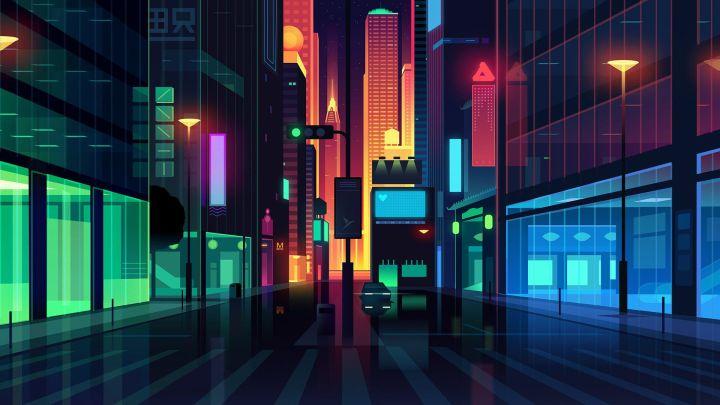 [1920×1080] Minimalist night city
