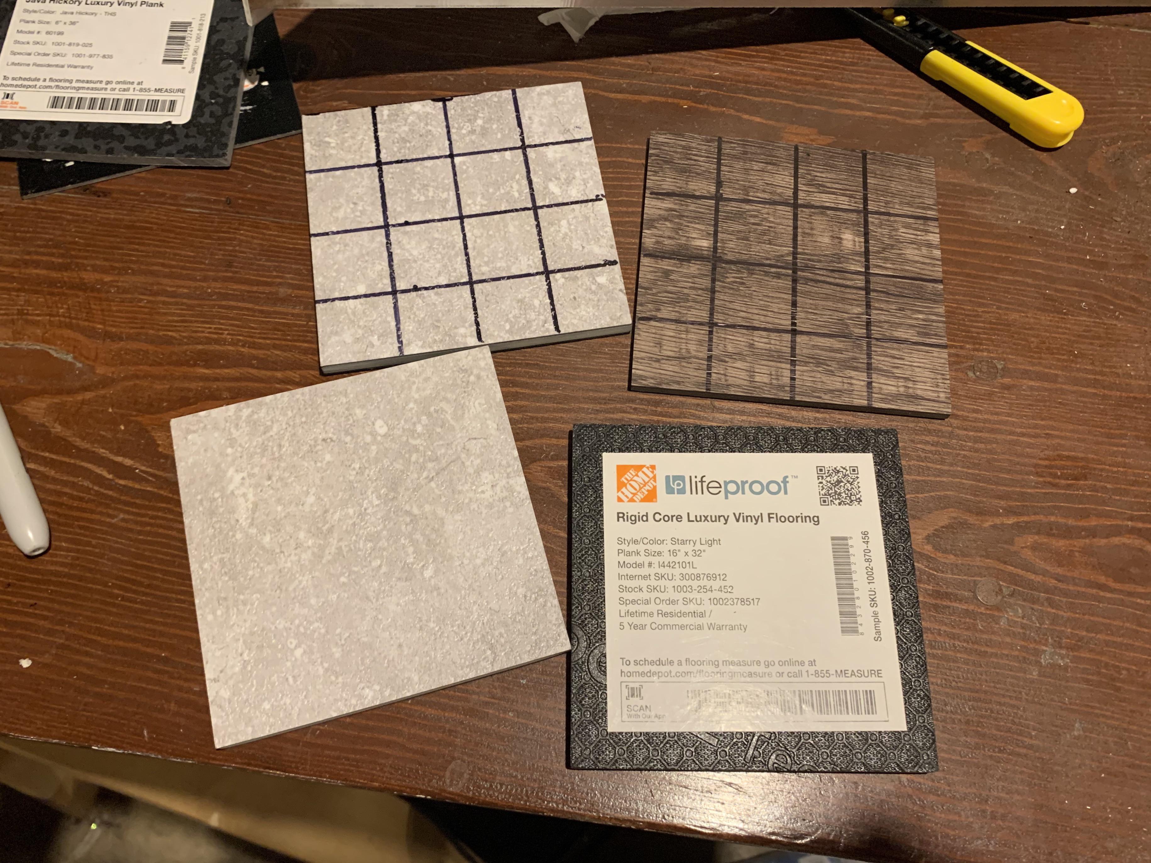 free 4x4 in samples of vinyl tile