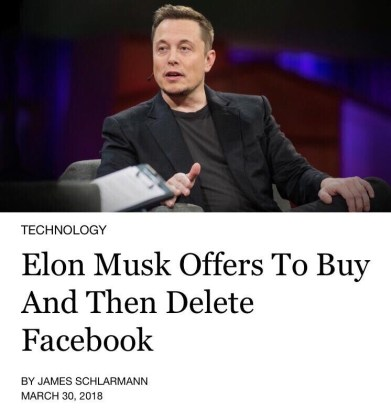 Elon Musk Offers To Buy And Then Delete Facebook