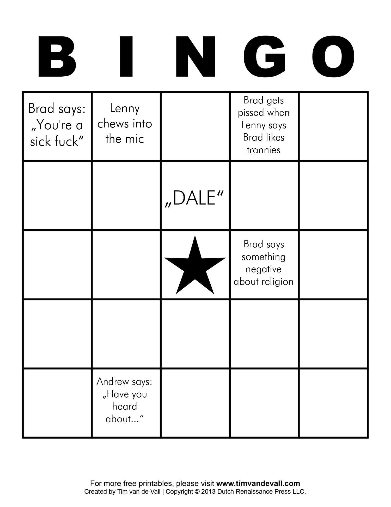 Let S Fill Out A Bingo Chart For The Next Podcast And See How We Do Ideas Delraymisfits