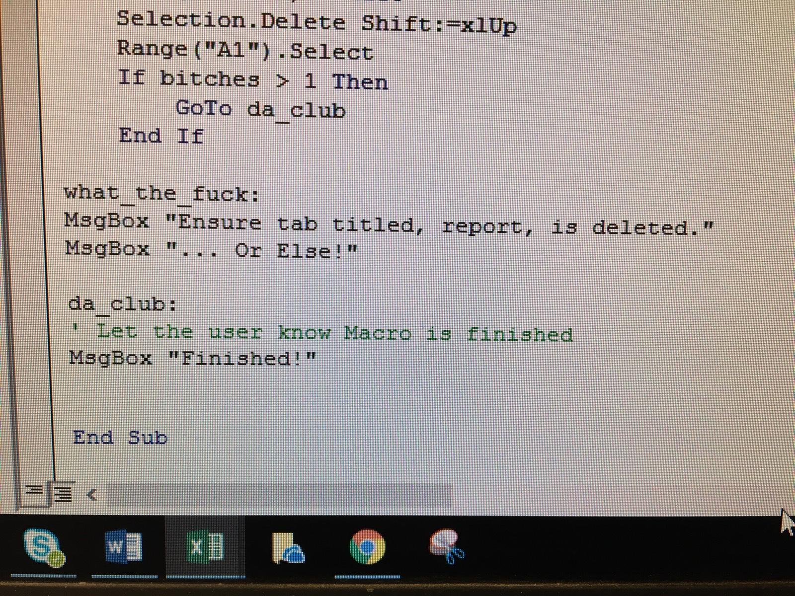 So My Brother Just Started Messing Around In Vba And Sent Me This