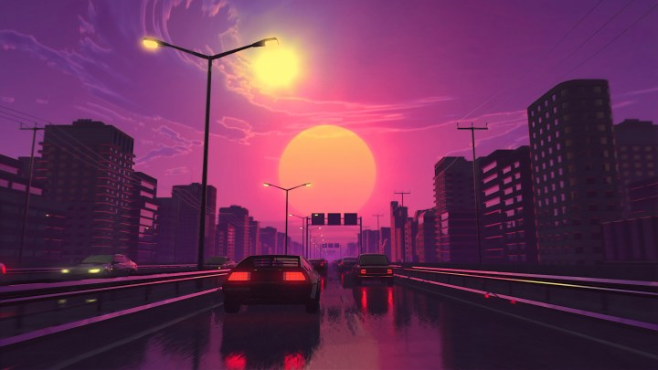 [3840×2160] Wet street sunset minimalism.