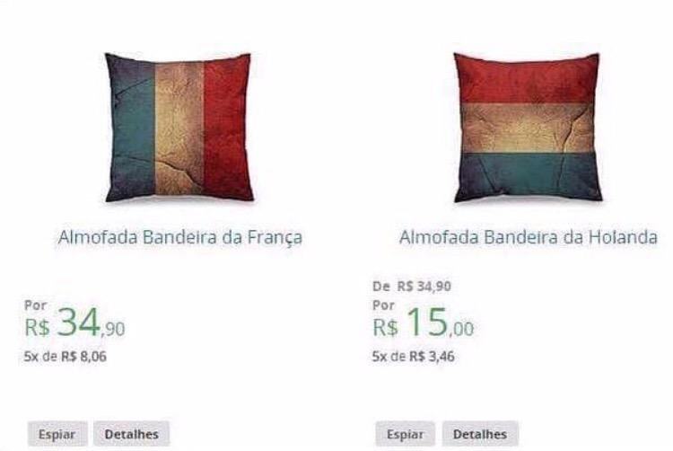 the left pillow is the french flag the