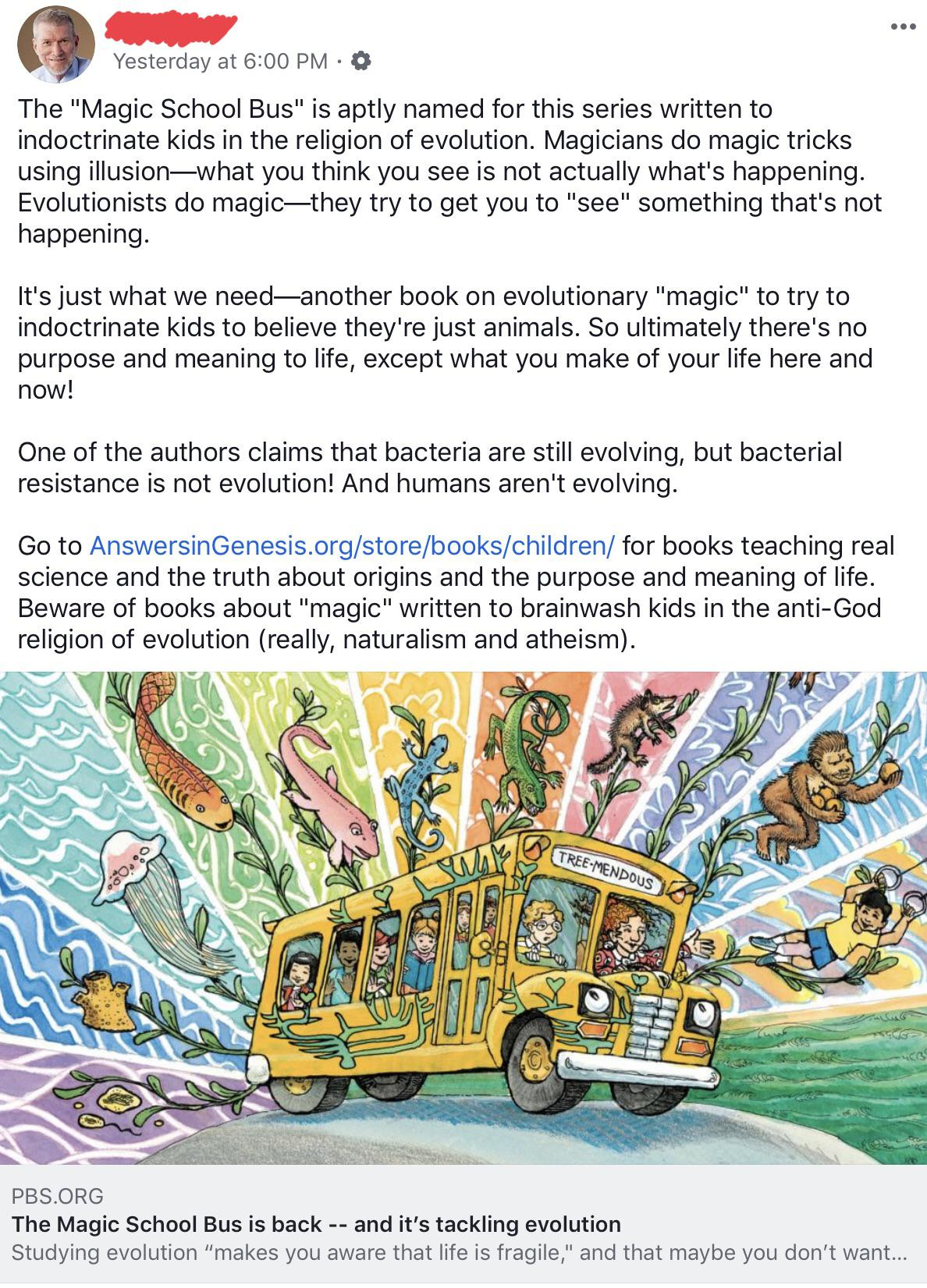 Creationist Wants To Ban The Magic School Bus Because It