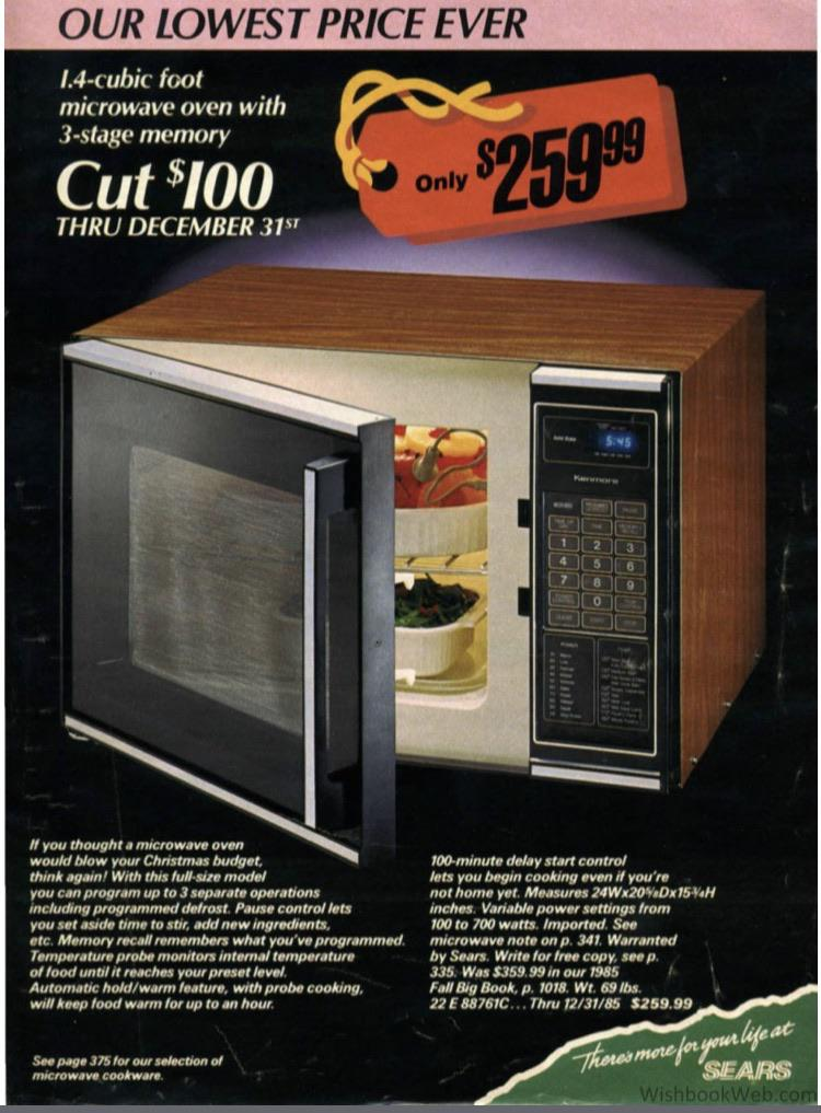 1985 sears catalog this microwave cost