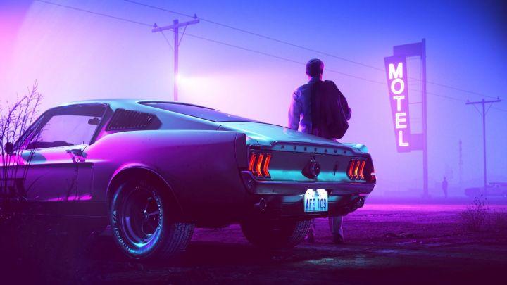 [3840×2160] Neon Car Man
