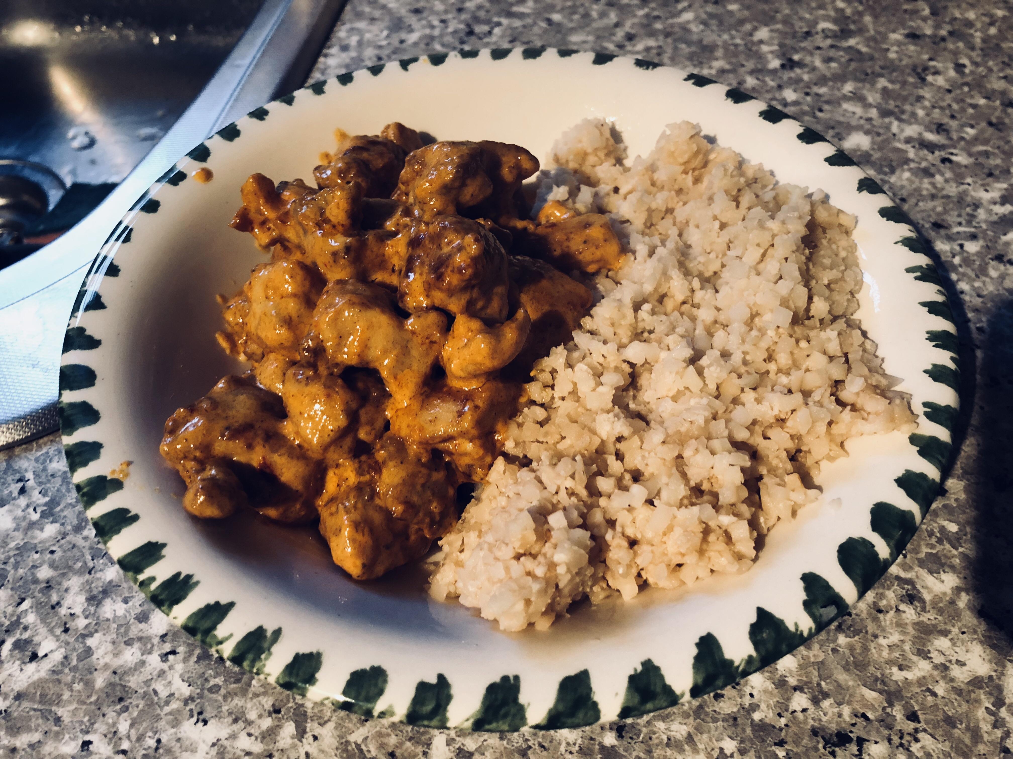 keto butter chicken and cauliflower