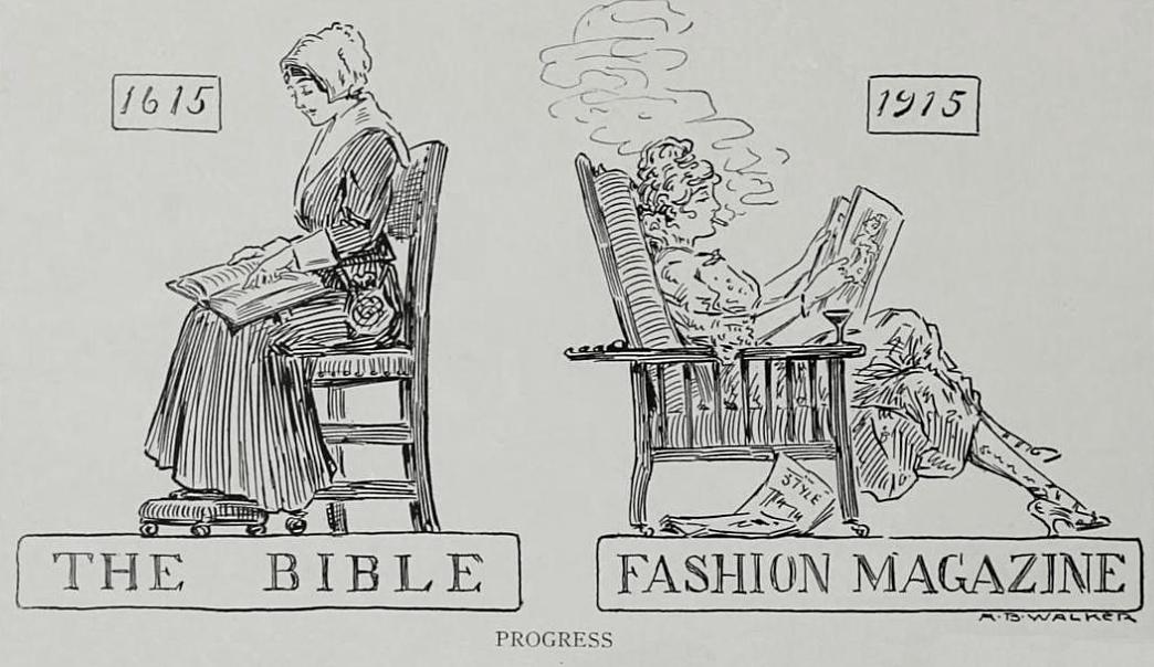 Women reading bible and fashion magazine