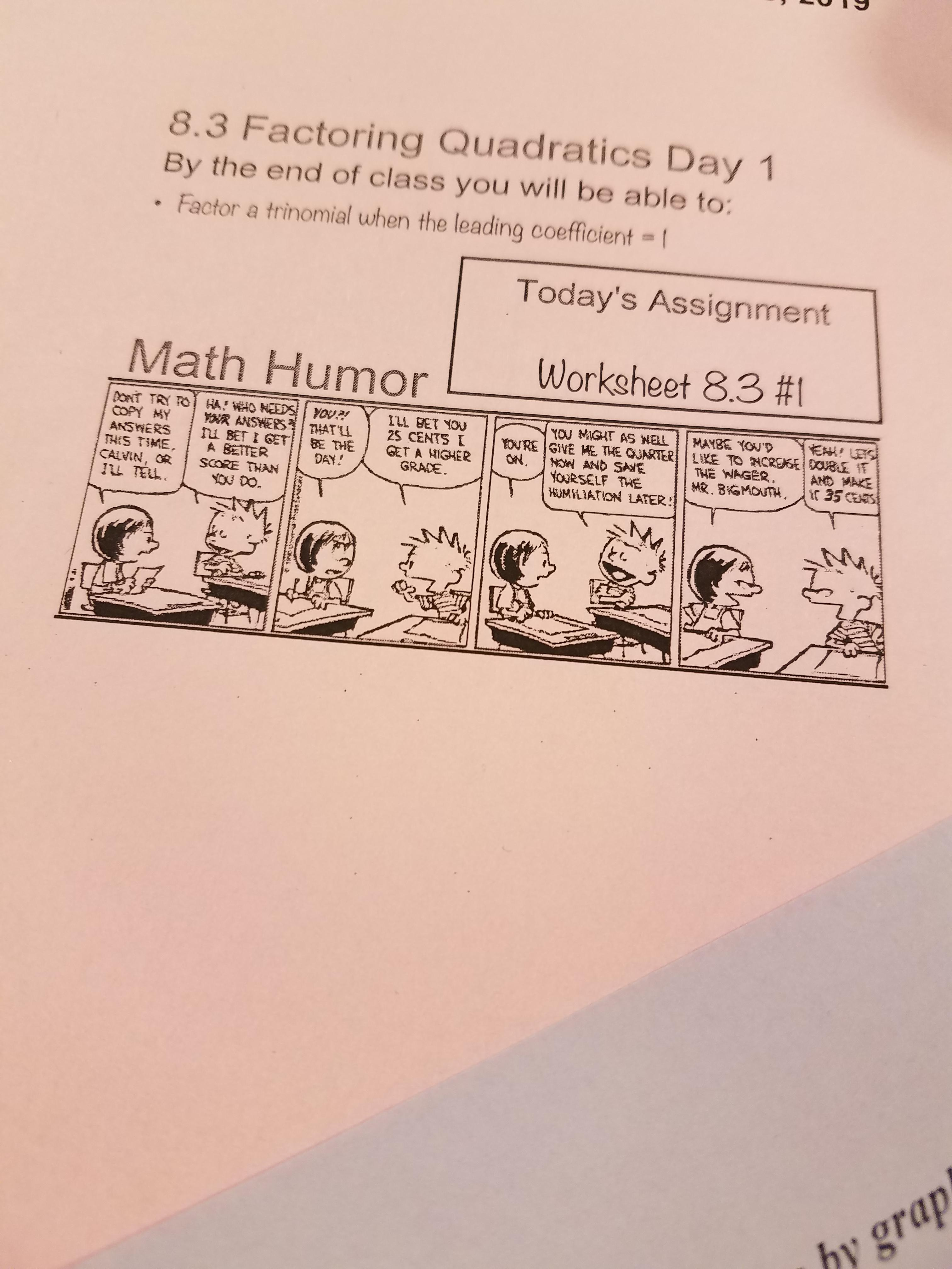 My Algebra Teacher Out A Calvin And Hobbes Comic Strip On