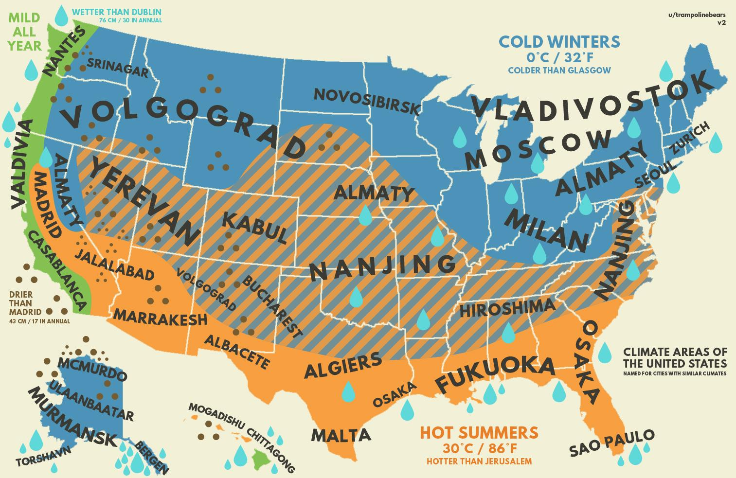 Us Climate With Equivalent Cities From Around The World