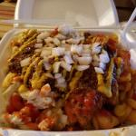 I Ate The Garbage Plate Pulled Pork Home Fries Mac Salad Meat Hot Sauce Ketchup Mustard Onions Mayo Food