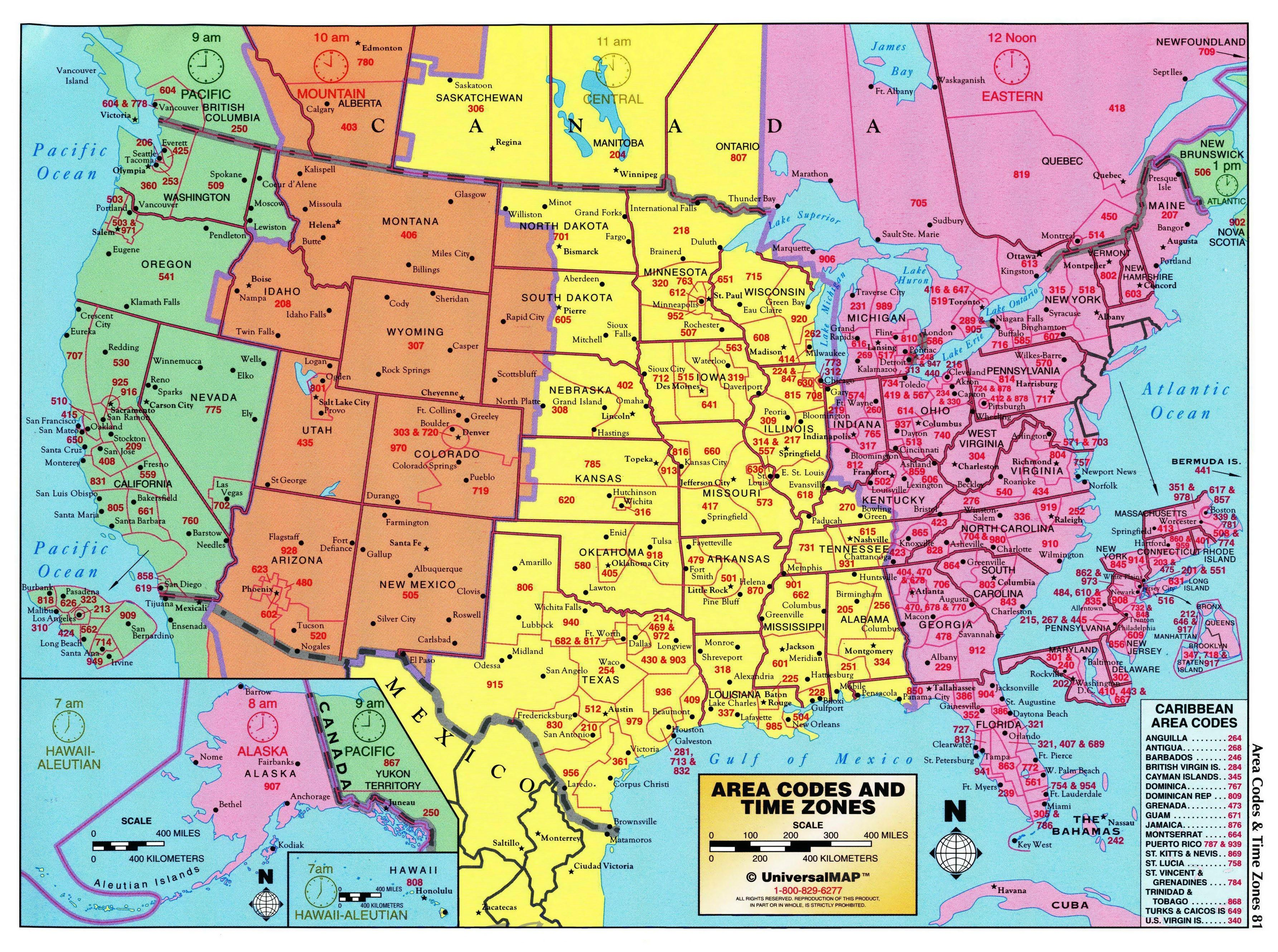 Area Codes And Time Zones Of The United States And