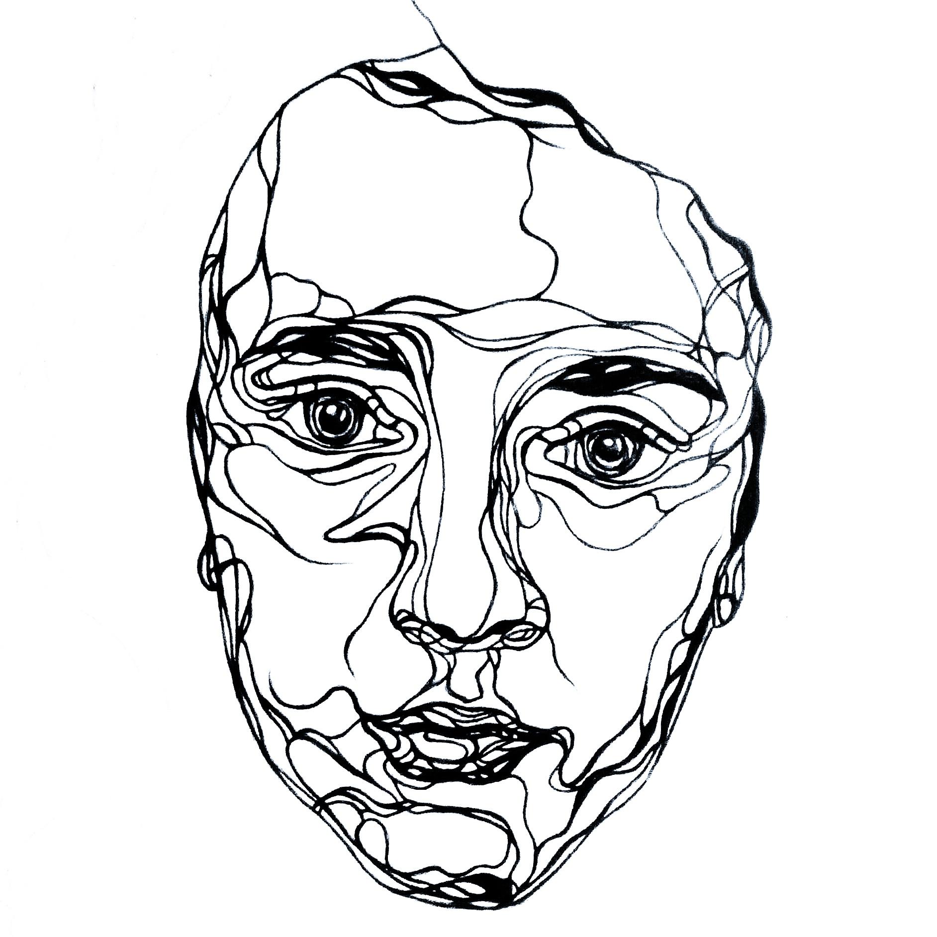 Single Line Self Portrait Ink Karis Miller Art