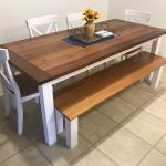 Dining Table And Bench I Built Redwood Top With Pine Legs And Skirting Woodworking