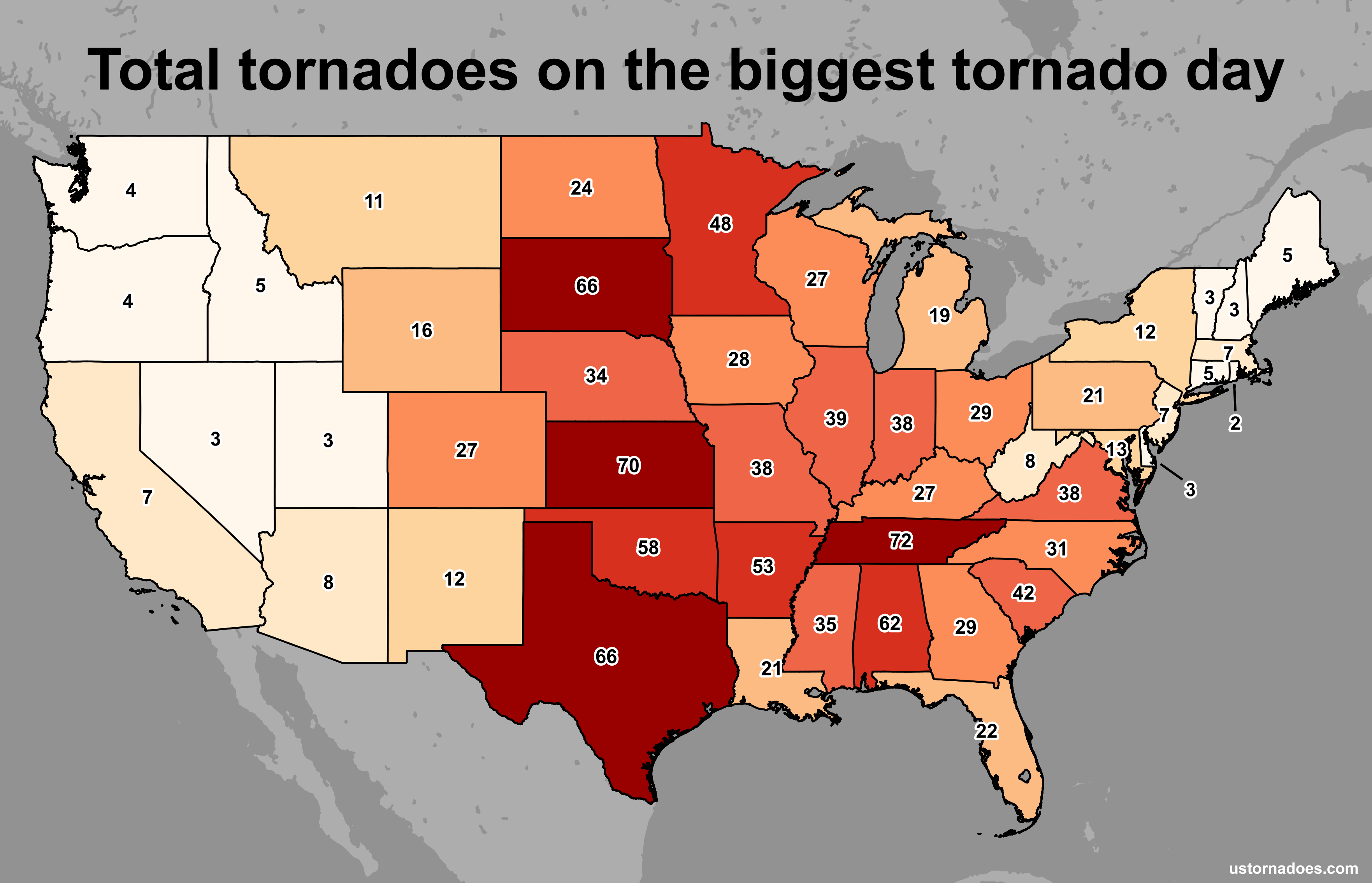 Number Of Confirmed Tornadoes Ever Recorded In One Day By