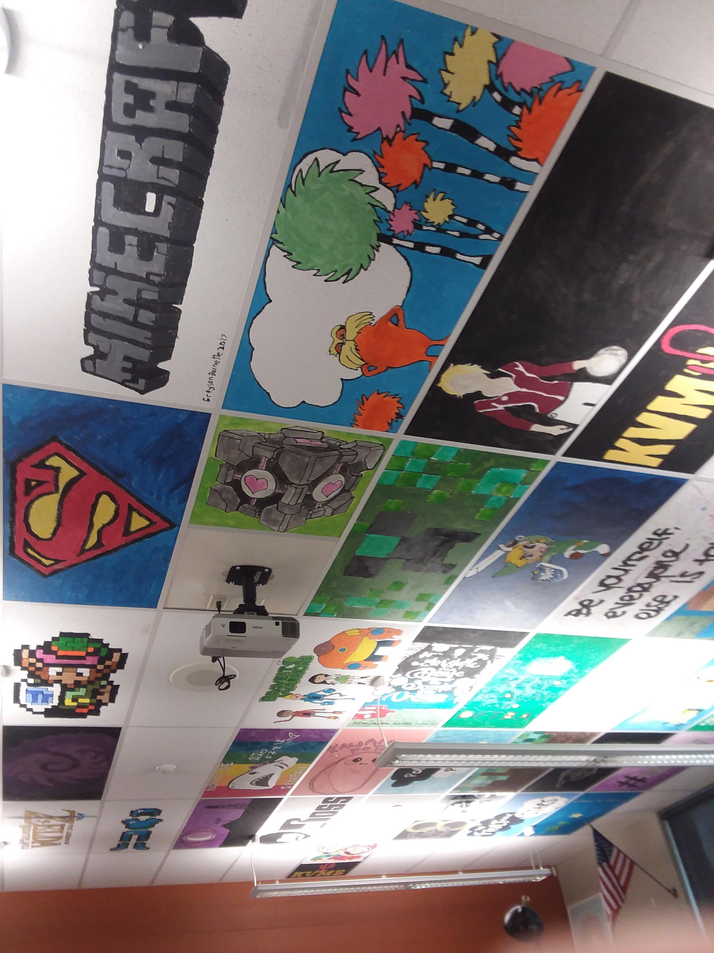 painting classroom ceiling tiles