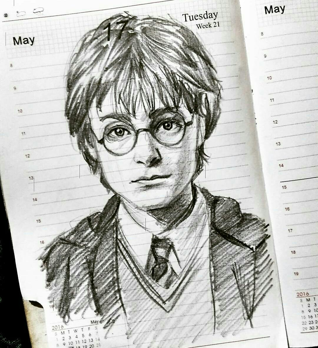 Harry Potter Drawing I Did On My Planner Drawing
