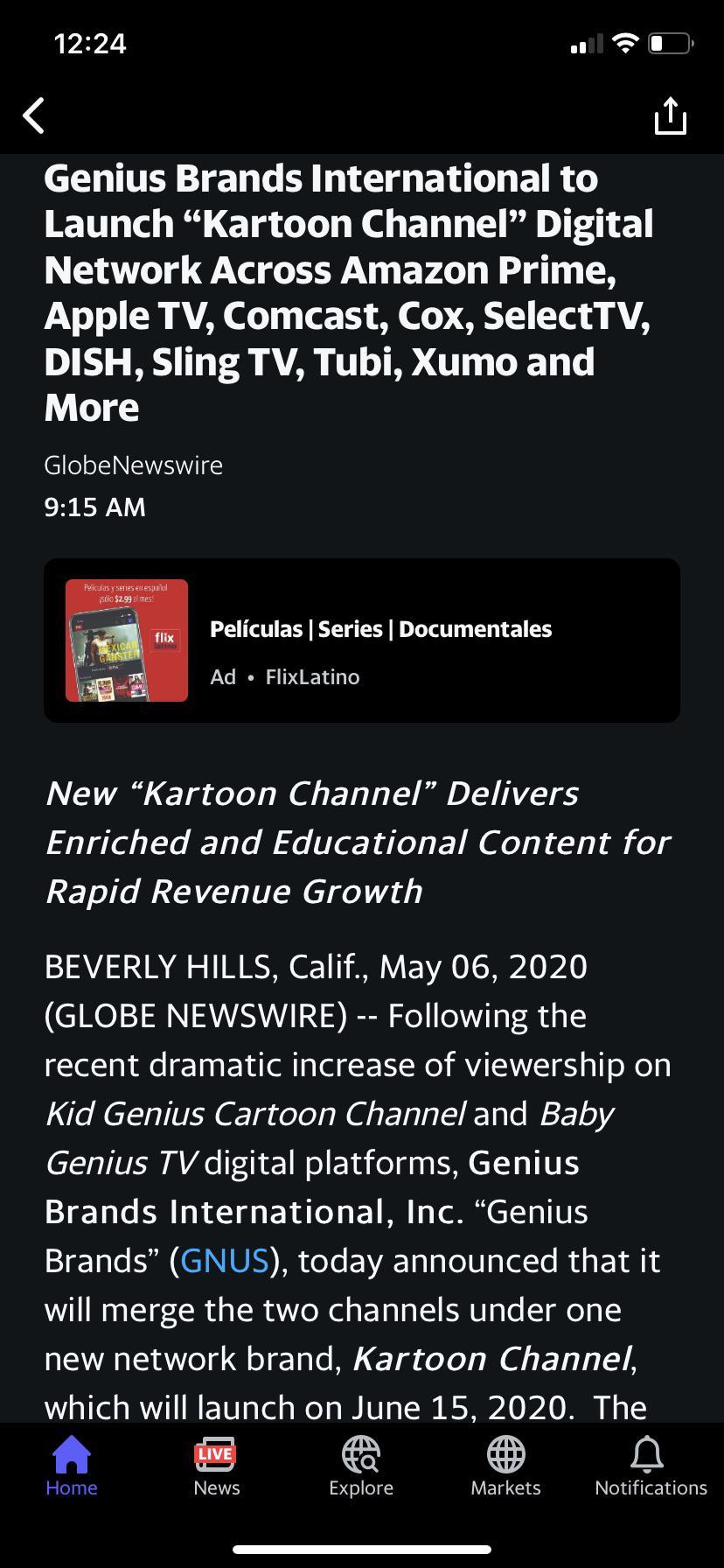 Genius Brands Intl Ceo Kartoon Channel Doesn T Require