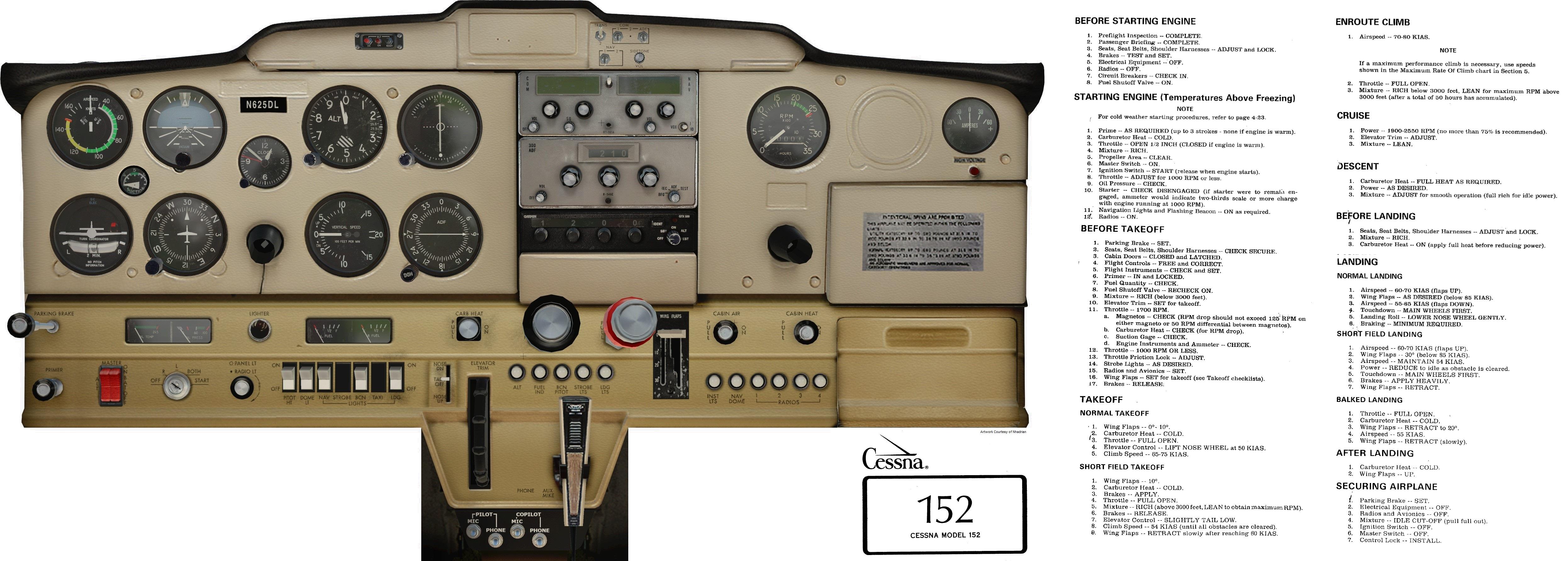 good c152 cockpit poster