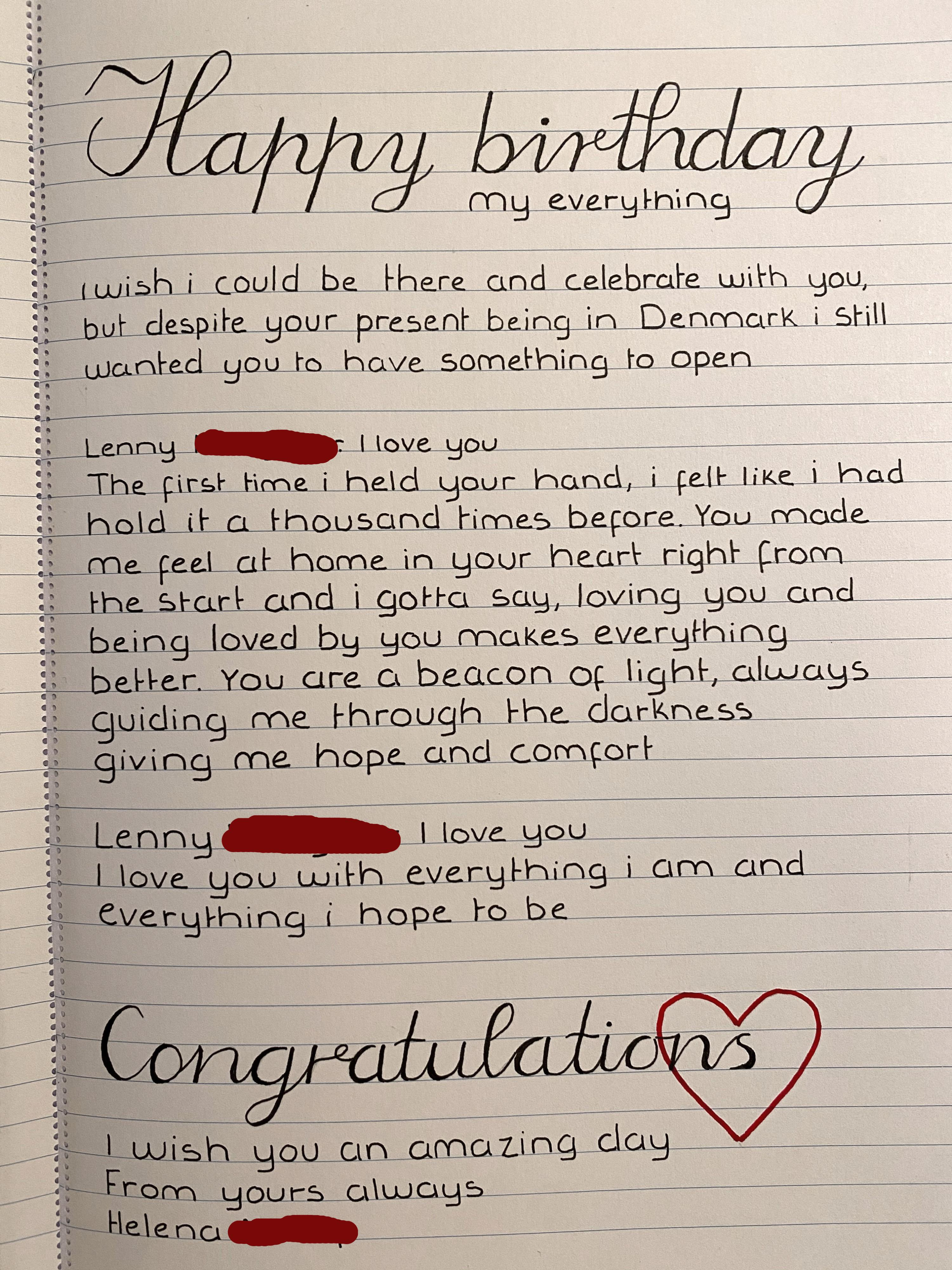 Wrote A Birthday Love Letter To My Boyfriend In Uk English Isn T My First Language And I Just Now Realised Now It S Full Of Grammar Mistakes Is It Too Bad