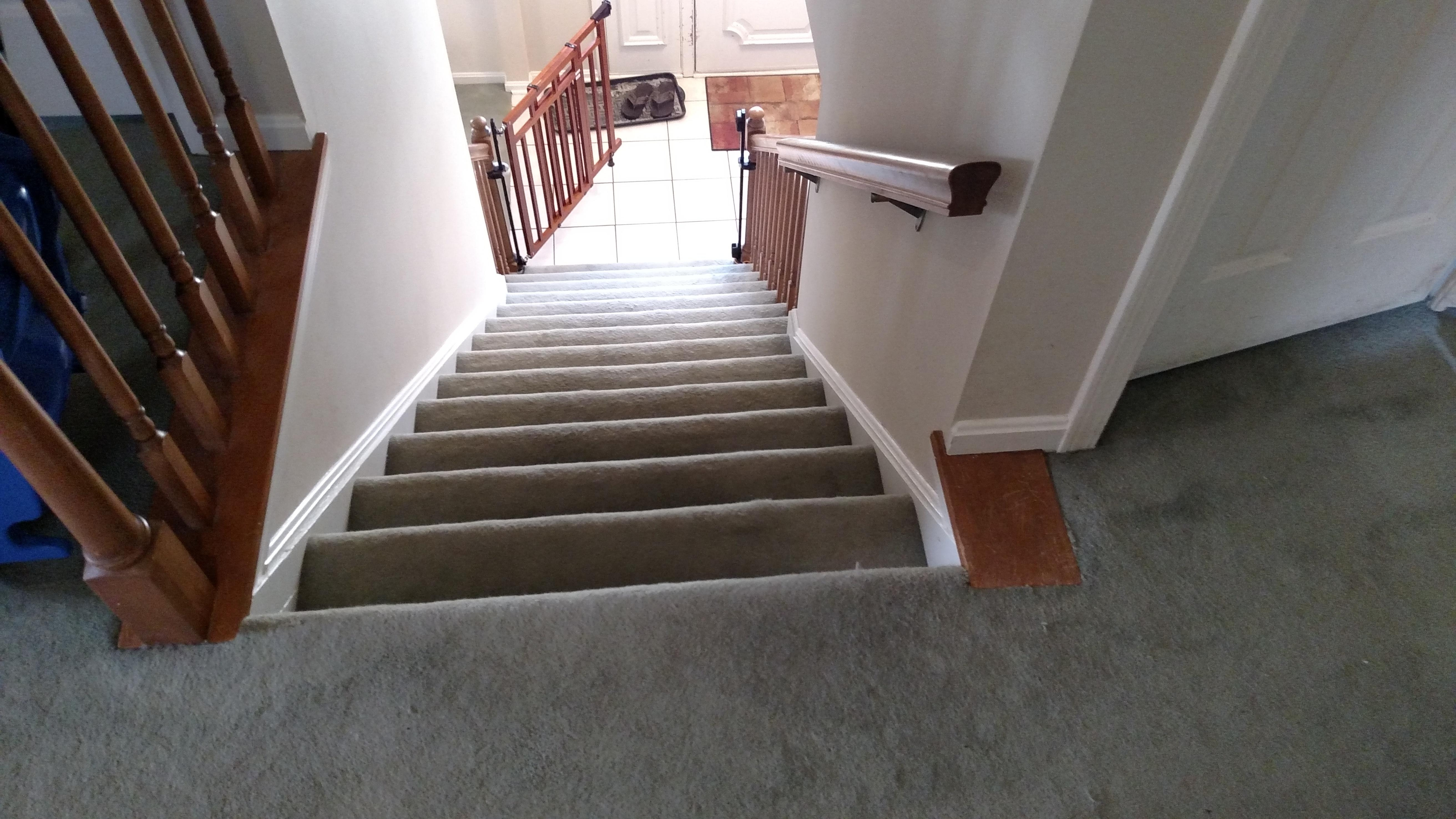 Need Suggestions For Baby Gate At Top Of Stairs The Wall Stops   Top Of Stairs Banister   Indoor   Rail   Barn Wood   Residential   Different Color
