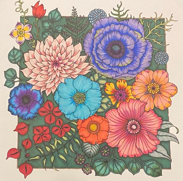 Finished page from *World of Flowers* by Johanna Basford: Coloring