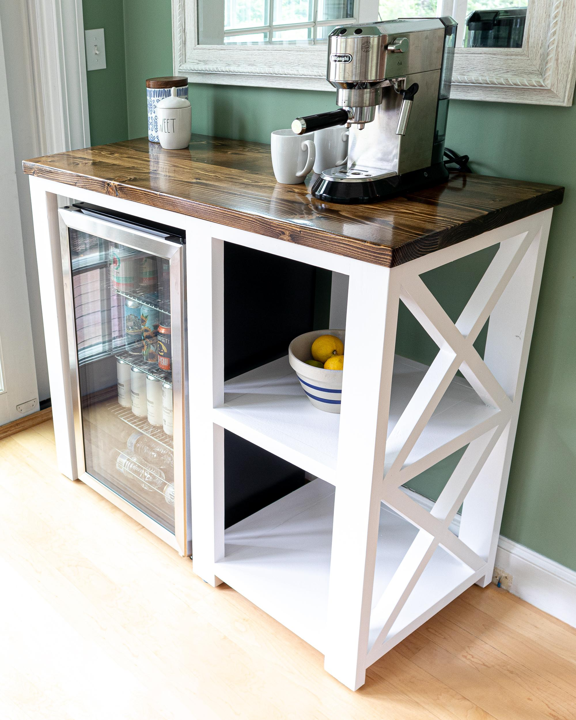this coffee bar mini fridge table i