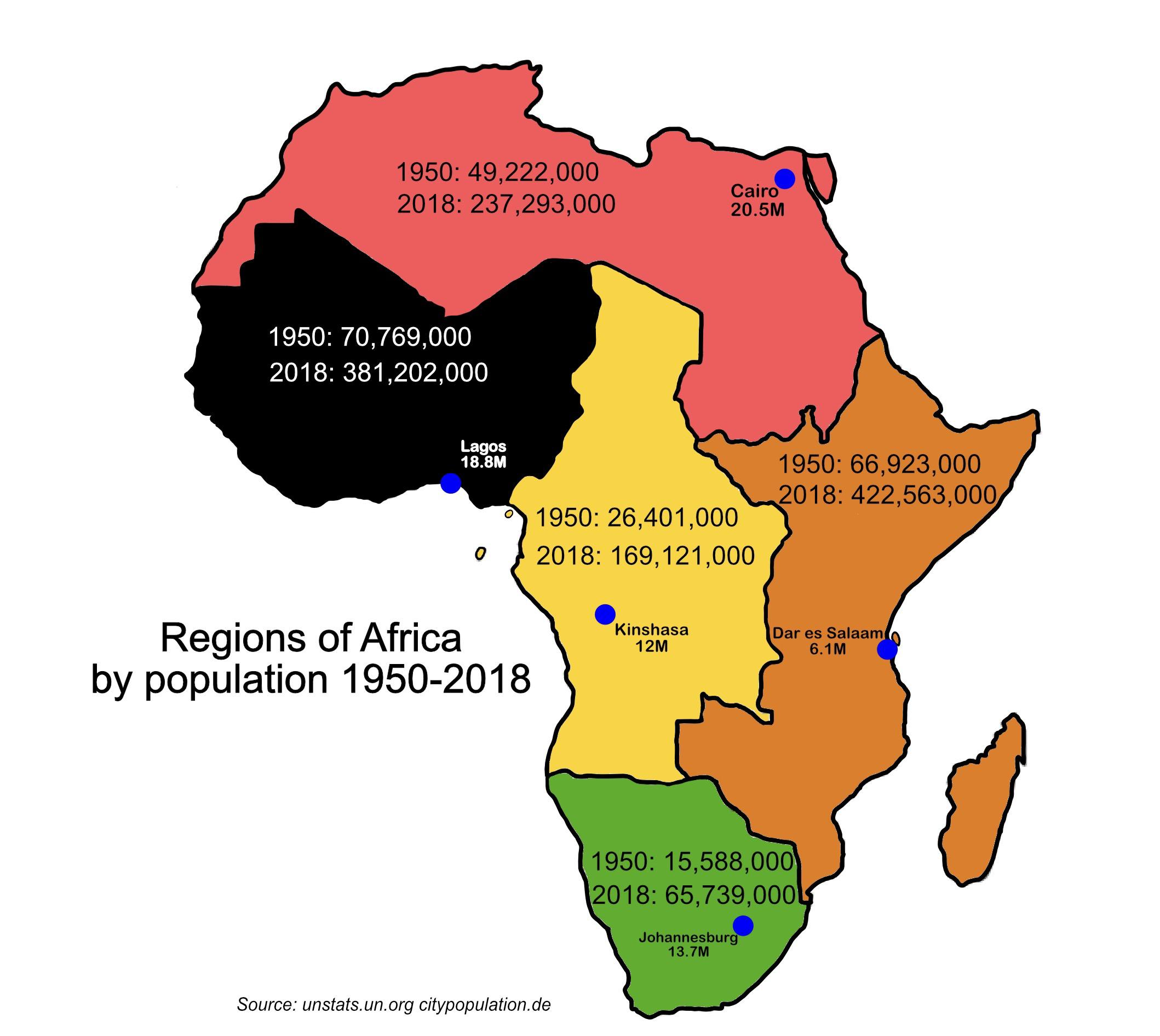 Regions Of Africa By Population Map
