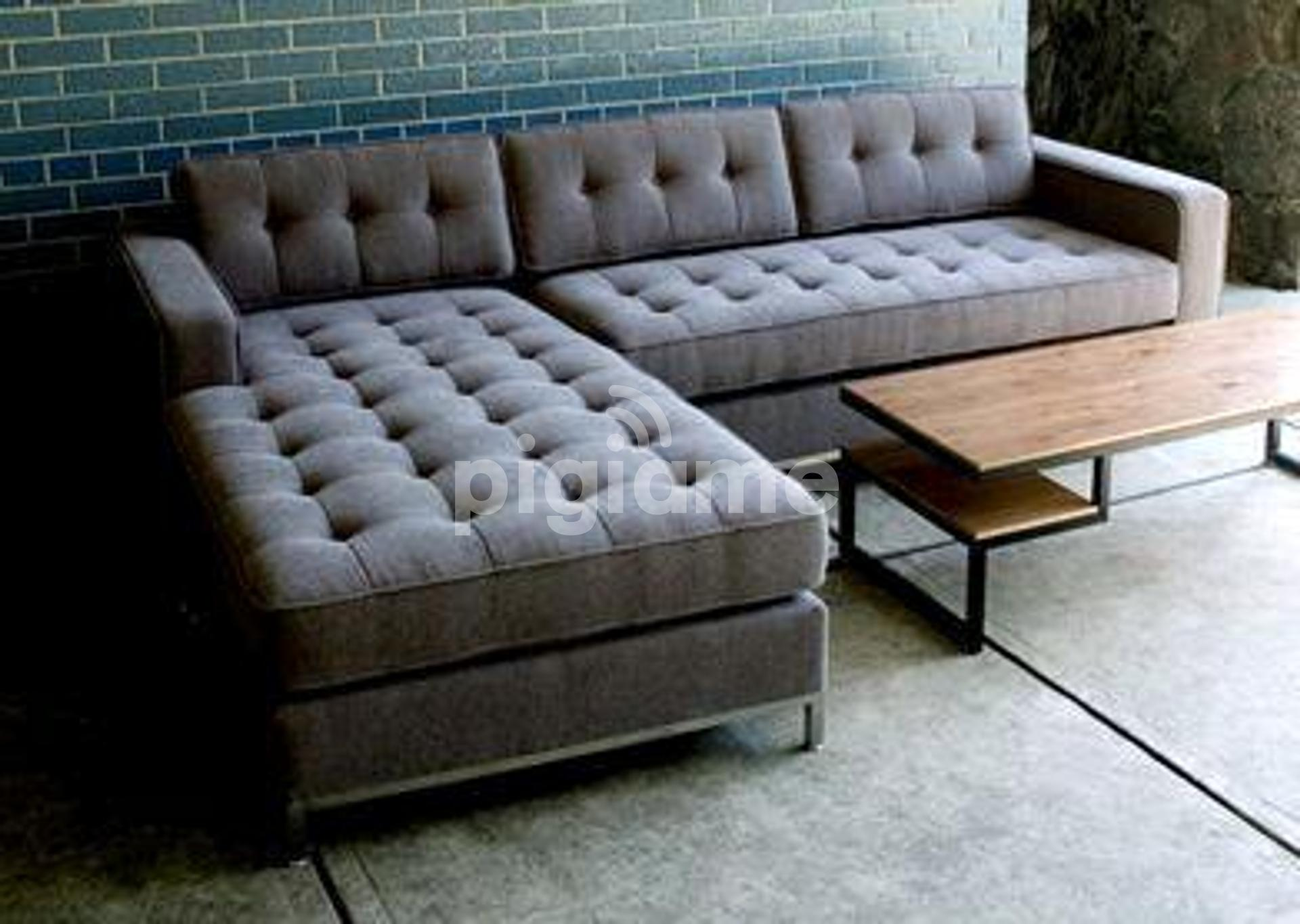 six seater l shaped sofa grey tufted sectional sofa