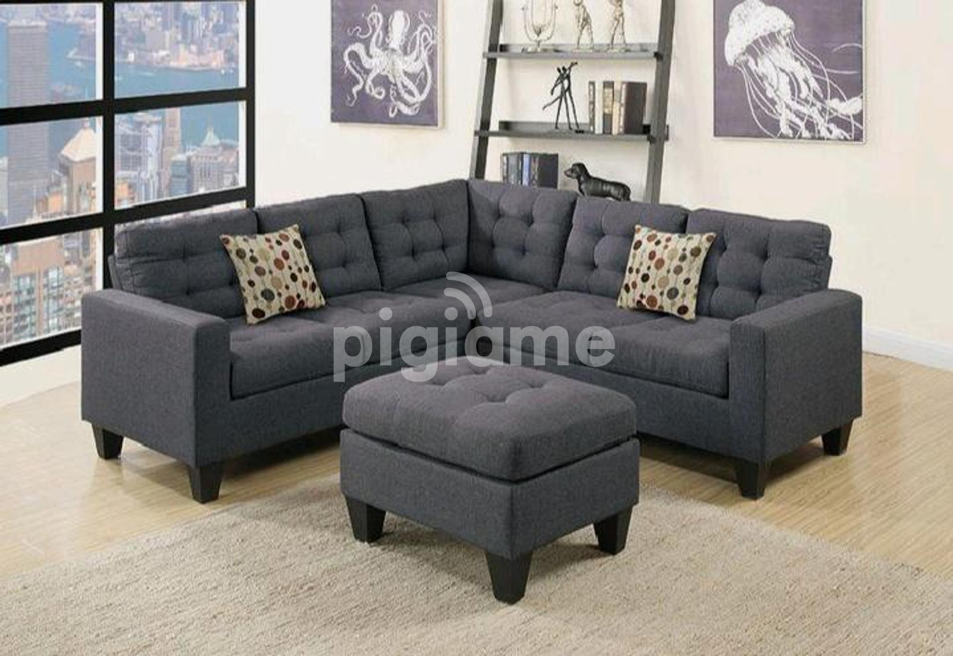 tufted l shaped sofa modern sofas footrest poufs five seater l shaped sofa