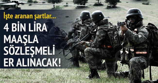 türk silahlı kuvvetleri sözleşmeli er maaşları