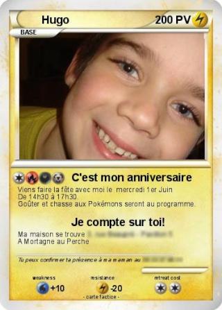 cartes d invitations anniversaire pokemon
