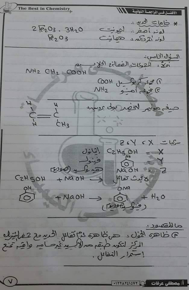 حل امتحان الكيمياء للصف الثالث الثانوي 2016 ا مصطفي عرفات