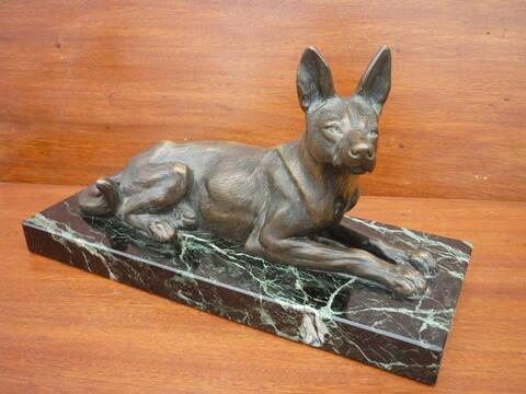 bronze animalier de berger allemand