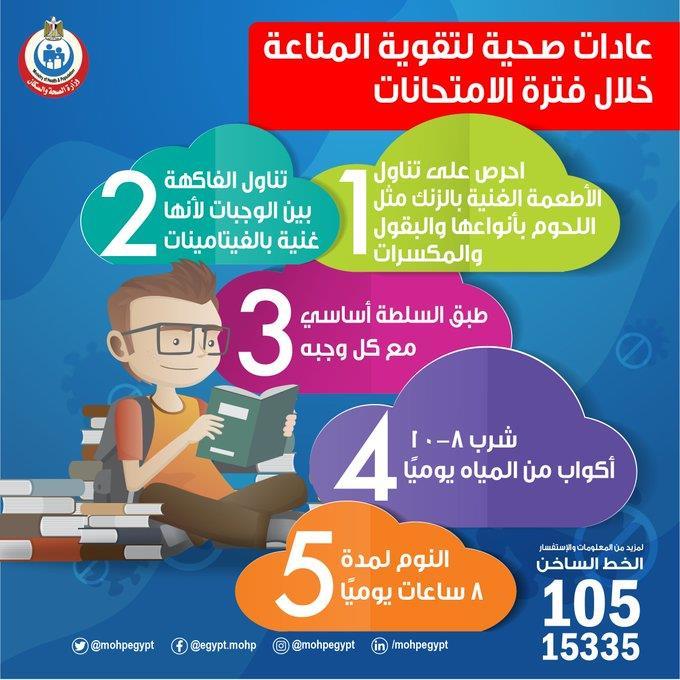 بروتوكول وزارة الصحة لطلاب الثانوية العامة لتقوية المناعة خلال فترة الامتحانات 2020_619