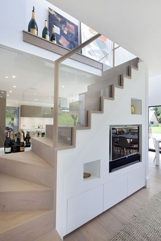 31 Living Room Under Stairs Storage Ideas Shelterness   Sala Design With Stairs   Indoor Home   Tv Cabinet   Home   Cute   Basement