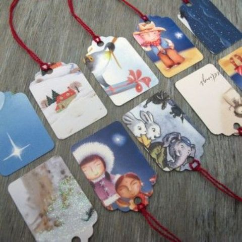 don't buy gift tags, just make them of cards and attach strings