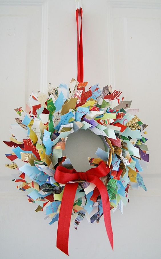 upcycled Christmas card wreath with red ribbon