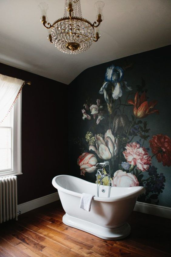 a gorgeous moody floral wall looking like an antique painting