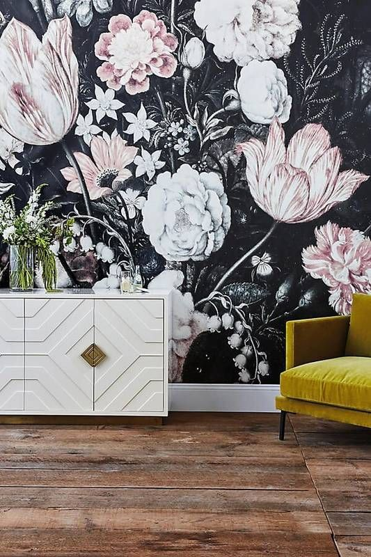 oversized moody floral wallpaper with large scale white and blush flowers