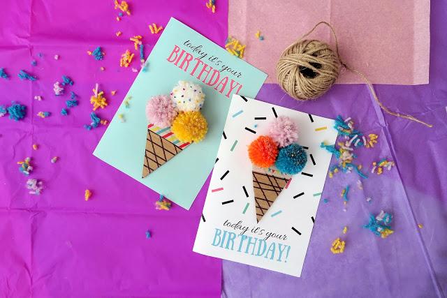 DIY pompom ice cream birthday card (via https:)