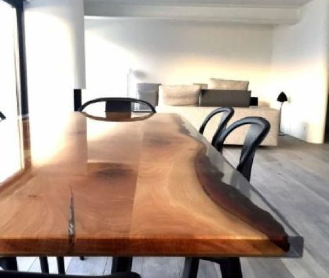 A Resin And Wooden Live Edge Wood Dining Table Is A Gorgeous Way To Make A