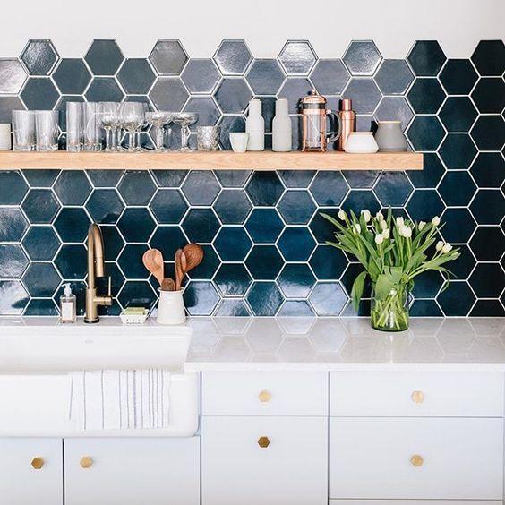 edgy hexagon tile kitchen backsplashes